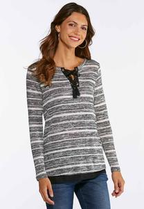 Plus Size Stripe Layered Lace-Up Top