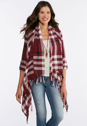 Plus Size Plaid Fringe Jacket | Tuggl