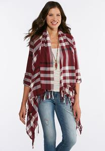 Plus Size Plaid Fringe Jacket