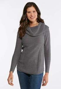 Plus Size Gray Cowl Neck Sweater