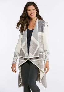 Plus Size Aztec Waterfall Cardigan