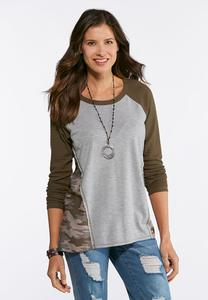 Plus Size Camo Colorblock Top