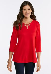 Plus Size Embellished Ponte Top