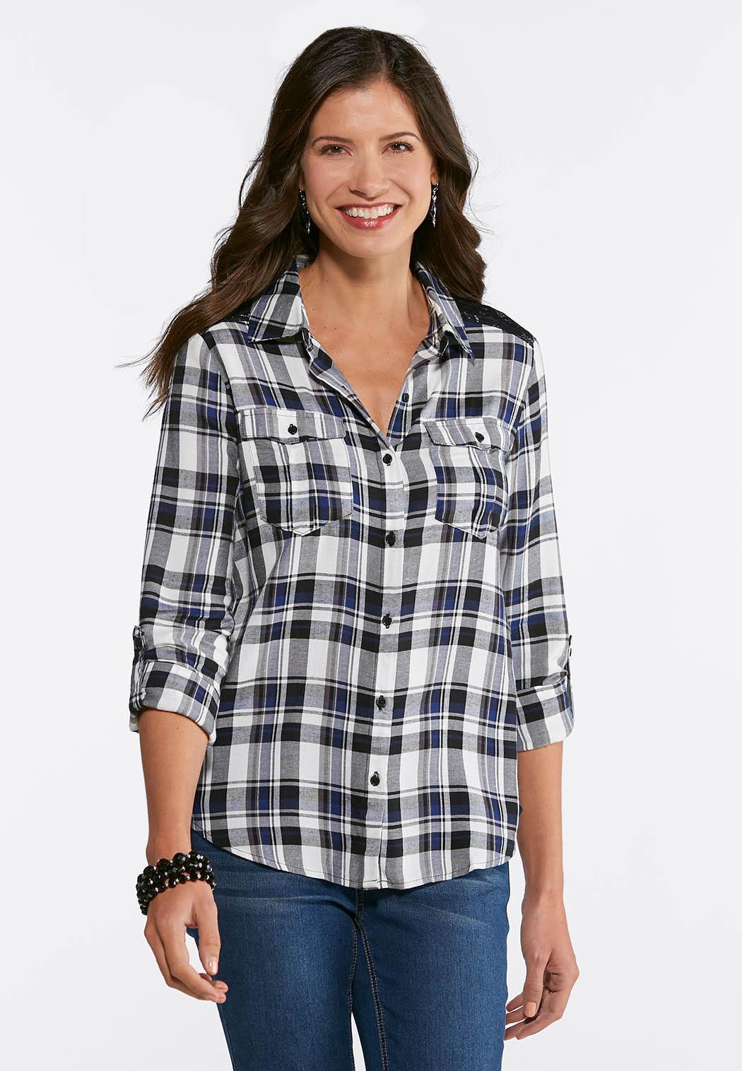 06669080c1dc51 Lace Trim Plaid Shirt alternate view · Lace Trim Plaid Shirt