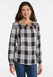 Pearl Embellished Plaid Top