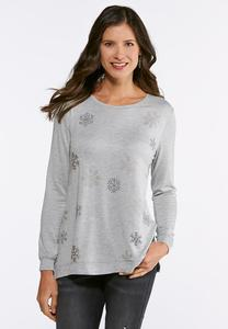 Plus Size Metallic Snowflake Top