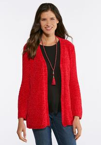 Red Chenille Cardigan Sweater