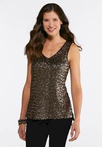 Plus Size Gold Sequin Tank