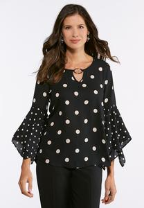 Plus Size Dotted Hanky Sleeve Top