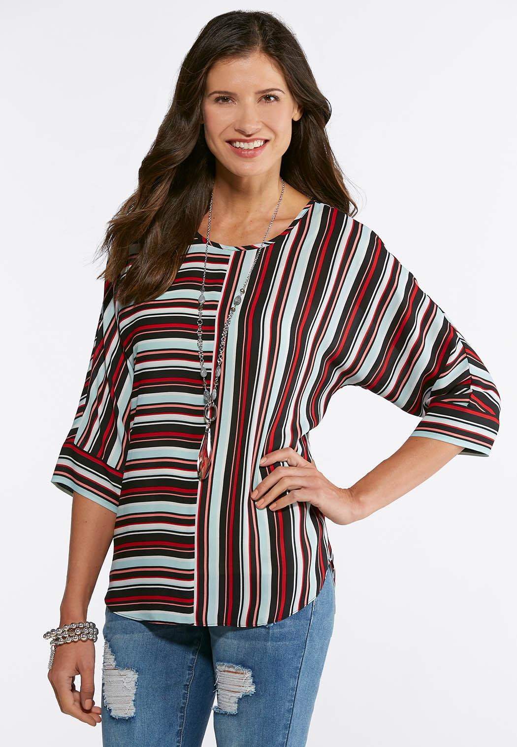 Plus Size Mixed Stripe High Low Top Shirts Blouses Cato Fashions
