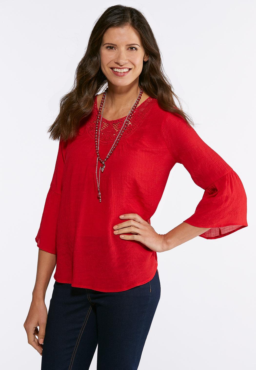 Plus Size Crepe Lace Yoke Top Shirts Blouses Cato Fashions