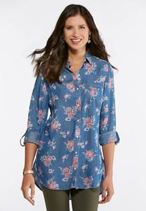 Plus Size Chambray Floral Tunic