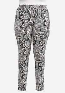 Plus Size Paisley Ponte Leggings
