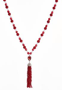 Rich Red Beaded Tassel Necklace