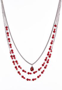 Red Bead Multi Layered Necklace