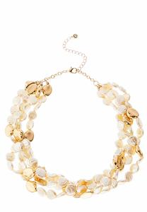 Multi Row Faux Pearl Stone Necklace