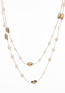 Delicate Faux Pearl Layered Necklace