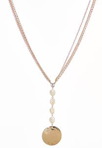 Faux Pearl Disc Pendant Necklace