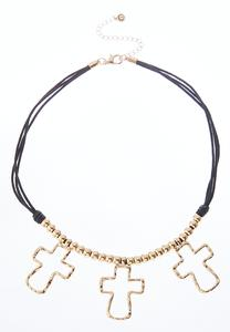 Triple Cross Corded Necklace