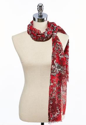Floral Scroll Gauze Oblong Scarf
