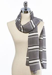 Variegated Striped Oblong Scarf