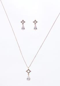 Cubic Zirconia Rose Gold Necklace Set