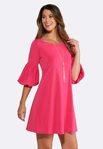 Plus Size Bubble Sleeve Swing Dress