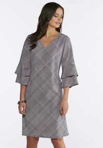 Plaid Tiered Sleeve Dress