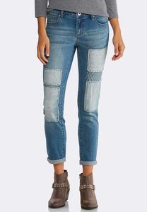 Patchwork Double Roll Skinny Jeans