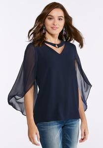Embellished Tulip Sleeve Top