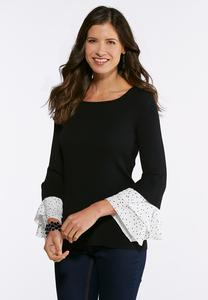 Ruffles And Dots Ribbed Sweater
