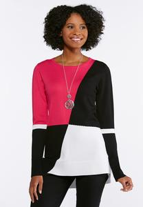Geo Colorblock Pullover Sweater