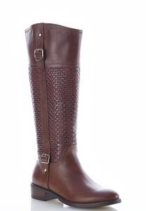 Textured Buckle Riding Boots