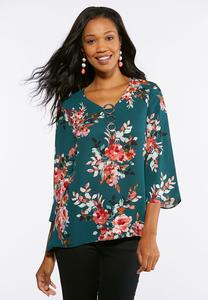 Plus Size Embellished Teal Floral Top