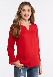 Embellished Ruched Sleeve Top