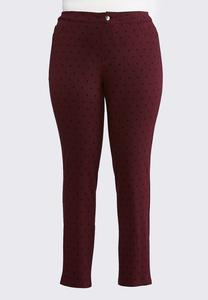 Plus Size Polka Dot Skinny Ponte Pants