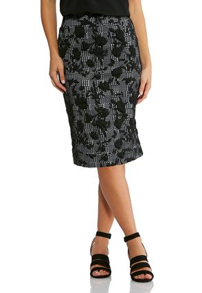 Plus Size Floral Check Pencil Skirt | Tuggl