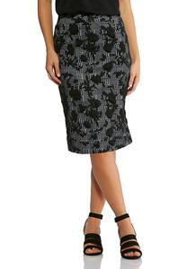 Plus Size Floral Check Pencil Skirt