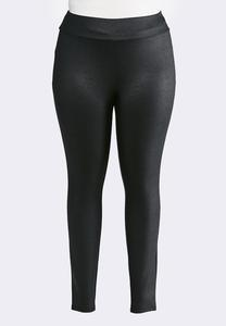 Plus Size Black Coated Leggings