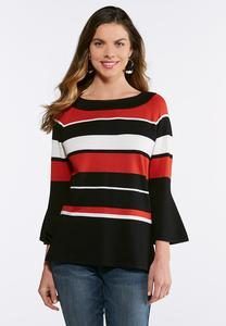 Striped Flare Sleeve Sweater