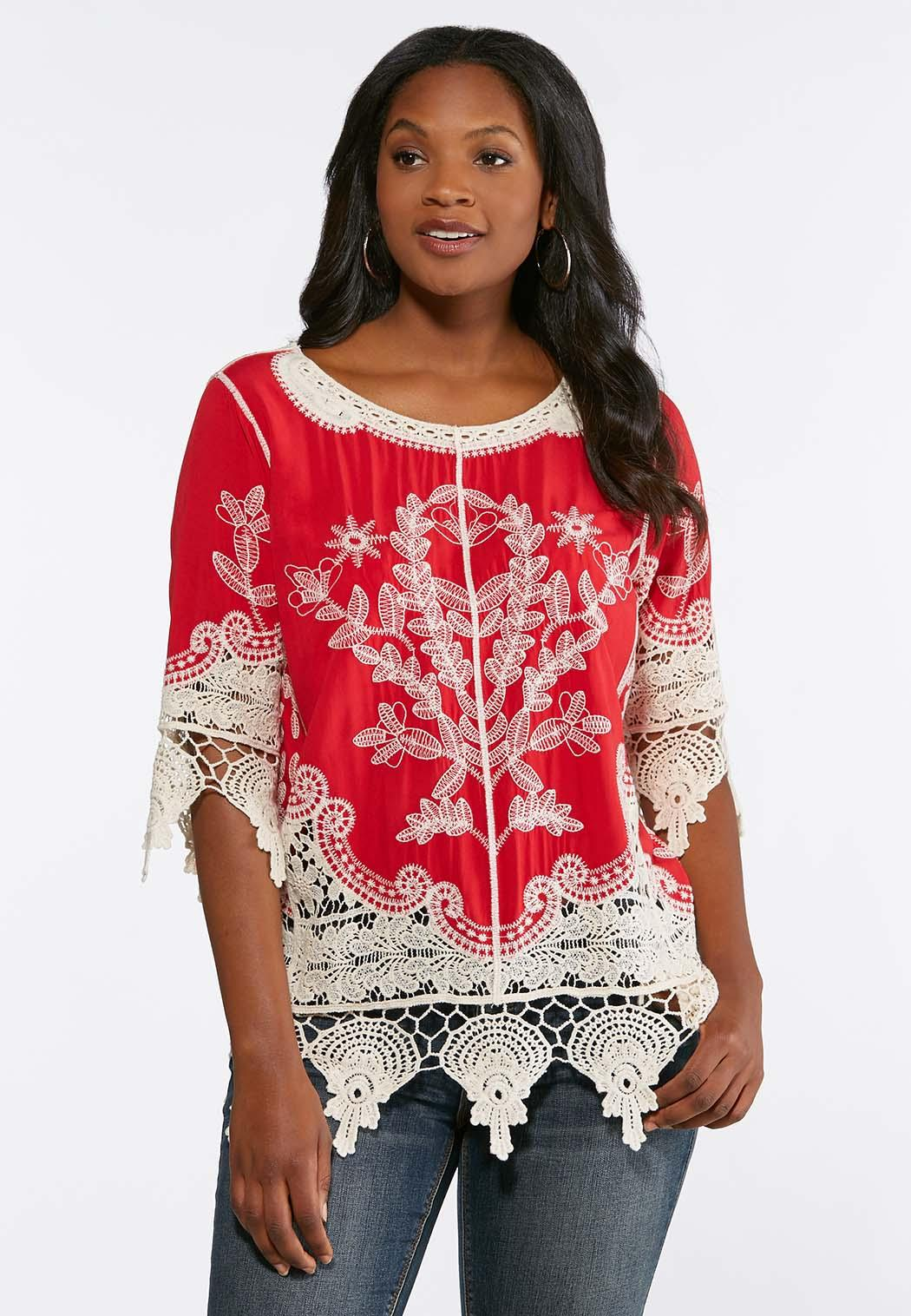 Crochet Embroidered Tunic Shirts Blouses Cato Fashions