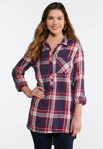 Plus Size Wine Plaid Tunic