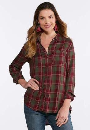 Plus Size Plaid Split Back Top