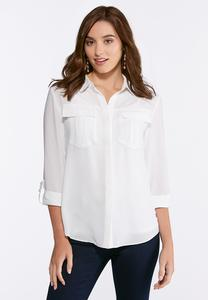 Solid Button Down Boyfriend Top