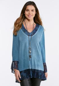 Plus Size Chiffon Hem Bell Sleeve Top