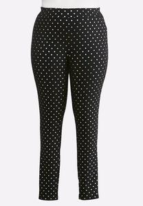 Plus Size Foiled Dotted Leggings