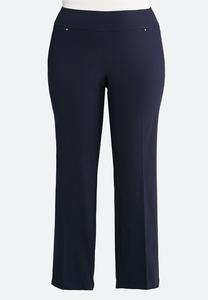 Plus Size Hardware Pocket Slim Leg Pants