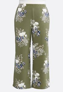 Plus Size Green Floral Palazzo Pants
