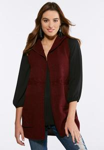 Plus Size Cable Knit Hooded Vest