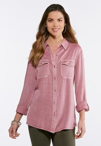 Plus Size Soft Woven Button Down Shirt